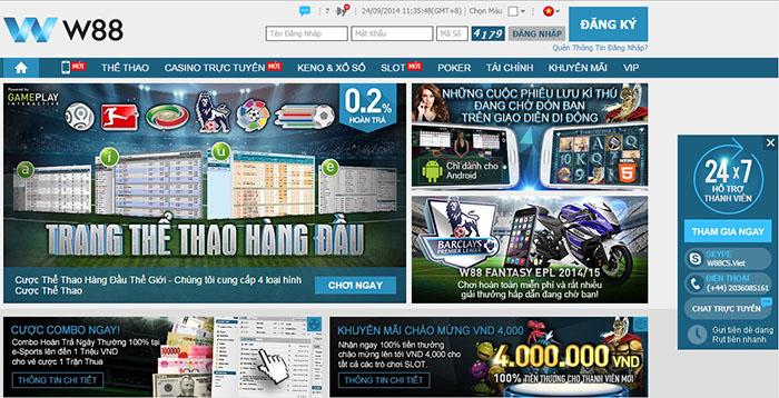 Nhà cái trực tuyến W88 hỗ trợ website giao diện tiếng Việt thân thiện