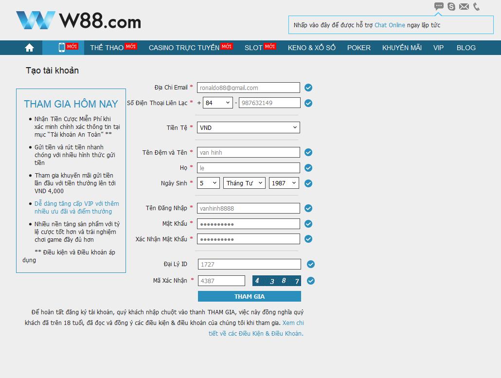 Đăng ký tài khoản cá độ tại nhà cái W88 vô cùng đơn giản và nhanh chóng